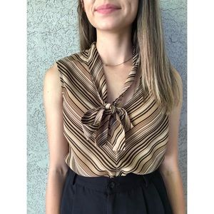 VINTAGE | Sleeveless striped blouse with neck tie